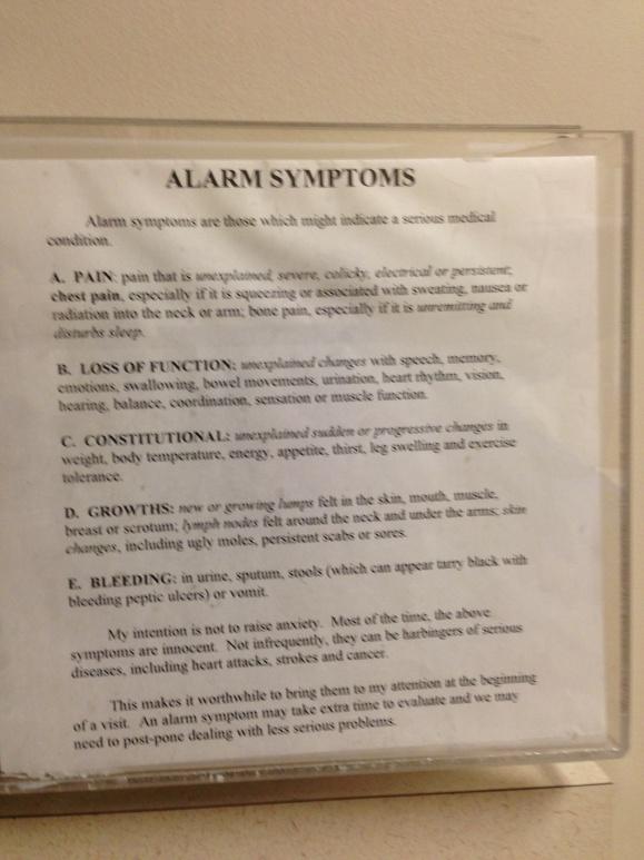 Alarm Symptoms poster