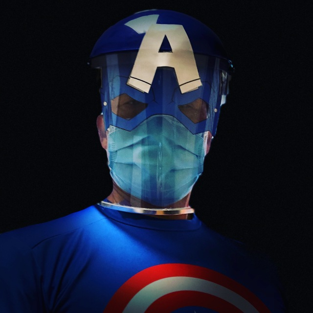 Dr Wong as Captain America in PPE